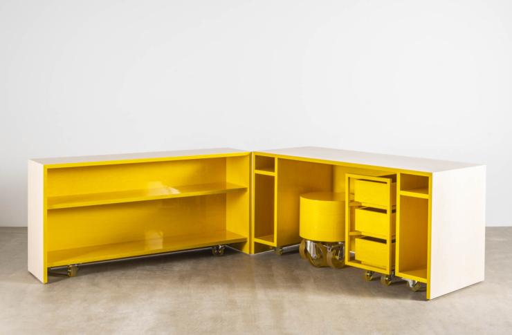 Flex-werkplek van Sabine Marcelis is witte kubus met fonkelend interieur